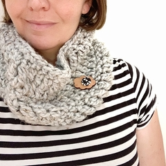 Crochet Cowl in Steel Grey