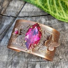 Fuschia Fandango Butterfly Cuff - vintage crystal and swarovski