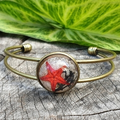 Mermaid Cuff - starfish, beach sand and moss