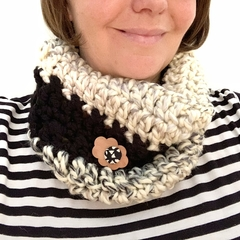 Crochet Cowl in Grey and Black