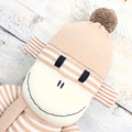 'Hugh' the Sock Monkey - caramel & cream stripes -*READY TO POST*