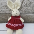 Georgia the Hand Knitted  Bunny Rabbit Toy with Red/Pink Heart  Party Dress