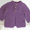 Girl's cardigan size 2, hand knit, wool and bamboo yarn