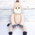 'Hugh' the Sock Monkey - caramel & cream stripes -*READY TO POST*