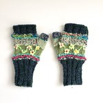 Embellished women's knit fingerless gloves. Flowers Green. Textures. Unique.