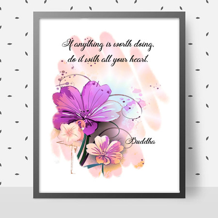 With all your Heart Quote DIY Wall Art Printable