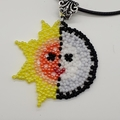 Sun and Moon Beaded Pendant Necklace Boho Sky Yellow Red Orange Planet white