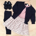 Size 2 - Skirt - Sea Shells - Cream - Pink - Organic cotton