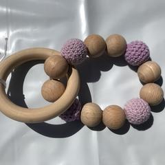 "Wooden Sensory Teething Ring ""Alison"" Purple"