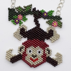 Cheeky Monkey Beaded Pendant Necklace Nature