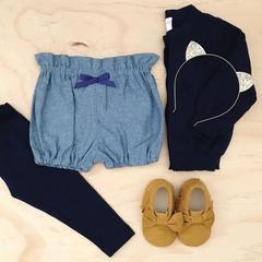 Size 3 - Bubble Shorties - Denim - Cotton - Bloomers - Shorts - Retro
