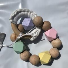 "Wooden Sensory Teething Ring ""Hannah"" Rainbow"
