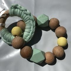"Wooden Sensory Teething Ring ""Oscar"" Green/Yellow"