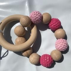"Wooden Sensory Teething Ring ""Olivia"" Pink"