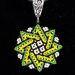 Star Beaded Pendant Necklace Boho  Huichol Green Yellow Black