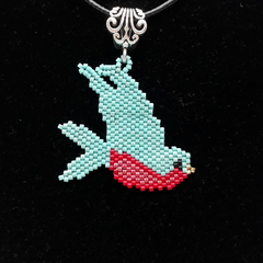 Swallow  Beaded Pendant Necklace Bird Turquoise Red Rockabilly Rock and Roll