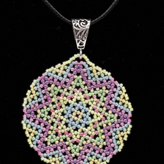Star Beaded Pendant Necklace Boho  Neon Bright Blue Green Yellow Purple Pink