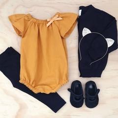 Romper - Mustard  - Cotton - Baby Girls - Retro - Size 000-2