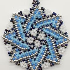Star Beaded Pendant Necklace Boho  Huichol Blue Silver White