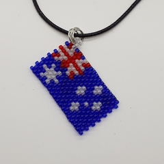 Australia Flag Beaded Pendant Necklace Red White Blue Aussie Oz