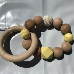"""Wooden Sensory Teething Ring """"Chris"""" Yellow"""
