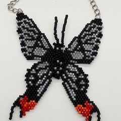 Beaded Butterfly Pendant Necklace Nature Insect Fly Butterflies