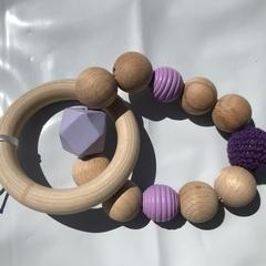 "Wooden Sensory Teething Ring ""Chris"" Purple"