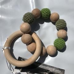 """Wooden Sensory Teething Ring """"Olivia"""" Olive"""