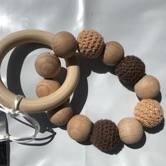 "Wooden Sensory Teething Ring ""Olivia"" Brown"