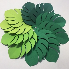Tropical Leaf shapes. Green ombre leaves. Safari or jungle party, monstera leaf.