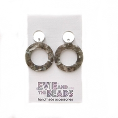 Grey Circle Earrings with Silver Mirror Tops