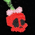 Skull Cherry Beaded Pendant Necklace Cherries Rockabilly Rock and Roll
