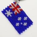 Australia Flag Beaded Pendant Necklace Red White Blue Aussie Oz