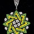 Star Beaded Pendant Necklace Boho  Huichol Green Yellow Black