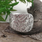 Floral Wide Band SPOON RING, Sterling Silverware Jewellery.