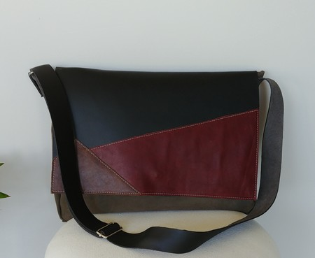 Large Leather & Suede Messenger