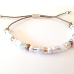 Minimalist Bracelet/ Stack Bracelet/ Casual Bracelet - White/Gold Mix
