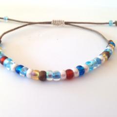 Minimalist Bracelet/ Stack Bracelet/ Casual Bracelet - Blue Mix