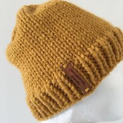 Knitted mustard men's or ladies beanie PomPom beanie winter