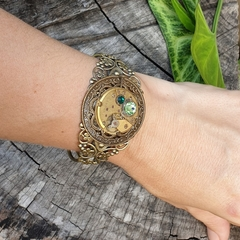 Gold Steampunk Cuff  - with swarovski crystals in emerald and peridot green