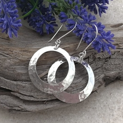 BIG HOOP EARRINGS, Sterling silver. Upcycled from Vintage Spoons.