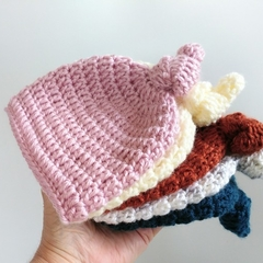 Newborn Crocheted Top Knot Baby Beanie