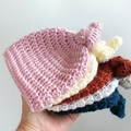 Vintage Hand Crocheted Knitted Newborn Crocheted Top Knot Baby Beanie Hat Cap