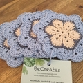 Crocheted coasters- set of 4 - Dusty Sky