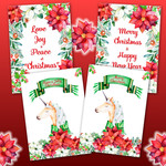 Christmas Poinsettia Unicorn DIY Card Kit Printables