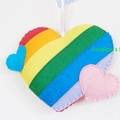 Rainbow Heart Ornament-Home Decor-Wedding Gift-Birthday-Bag Charm-Felt