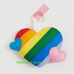 Rainbow Heart Keyring-Keychain-Bag Charm-Home Decor-Wedding Gift-Birthday Gift