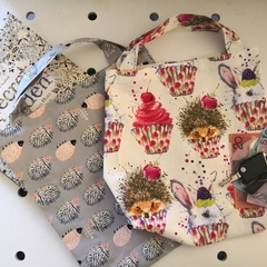 Set of 2 Eco friendly Shopping/Library Tote Bag Hedgehogs/cupcakes