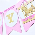 Pink Carousel Banner. Big top, pony, circus, carnival banner. Happy Birthday.