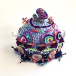 Quirky embellished crochet 4-6 cup tea cosy. Colourful with felt and beads.